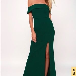 Lulu forest green off the shoulder maxi dress